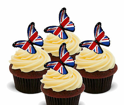 12 Large 50mm Circle Royal Union Jack Flag Edible Wafer Paper Cake Toppers Decorations Olympics