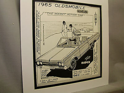 1965 Oldsmobile Rocket Auto Pen Ink Hand Drawn  Poster Automotive Museum