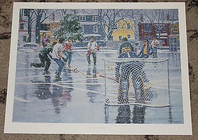"Ns Artist Al Chaddock Litho Print ""the Game Old Halifax"" 25""x19"" Ground Hockey"