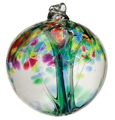 """Studio Glass Family Tree of Enchantment 2"""" Witch Ball Ornament Kitras Art Glass"""