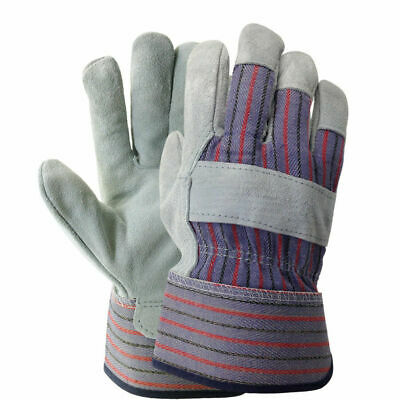 12 Total Pairs Leather Palm Industrial Work Gloves - Large **Free Shipping**