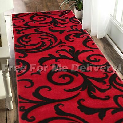 LUCIA SCROLL RED BLACK MODERN TRENDY FLOOR RUG RUNNER 80x400cm **FREE DELIVERY**