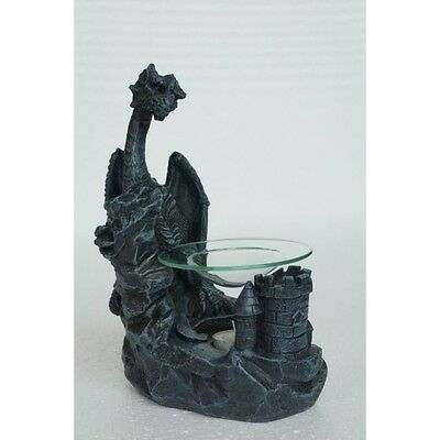 Gothic Dragon & Castle Oil Burner Aromatherapy Melts Glass FREEPOST