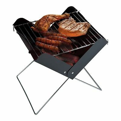 camping folding bbq barbecue foldable compact small steel chrome grill beech