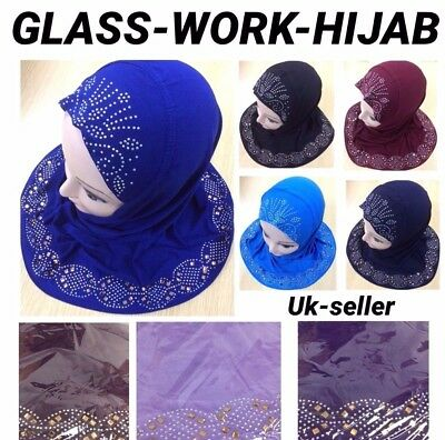 Muslim Kids Girls Hijab Islamic Headscarf Flower Hijab Scarf Glass Work Uk P&p
