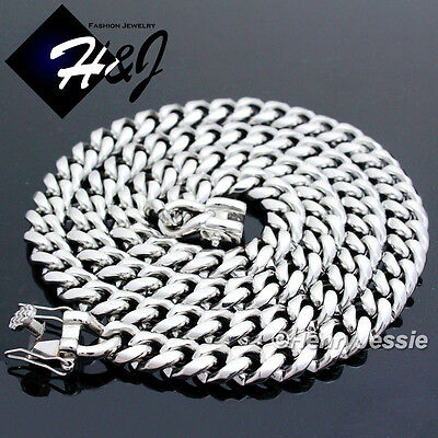 "18-40""MEN Stainless Steel 7x3mm Silver Miami Cuban Curb Link Chain Necklace*N146"