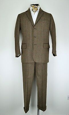 "Vintage Bespoke Savile Row Tailored Tweed Suit 40"" Short by Joce & Co 3 Button"