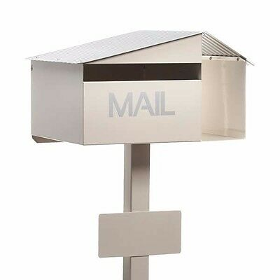 Milkcan CREAM Crest Letterbox Freestanding Mailbox INCLUDES Post + Number Plate