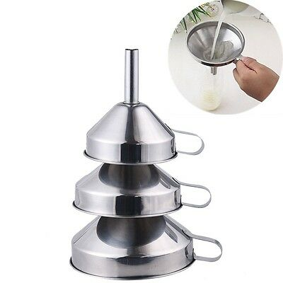 3pcs Stainless Steel Thicken Liquid Funnel Nonmagnetic Hopper Set Kicthen Tools