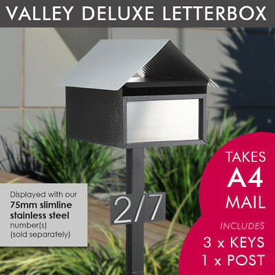 SALE Milkcan Stone LARGE A4 Valley Letterbox Mailbox Post, Number Plate Key Lock