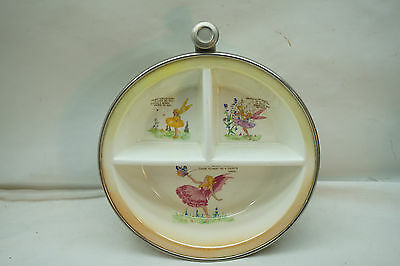 Vintage Baby Feeding Dish Childs Bowl Buttercup Fairy Metal Warmer Spout Fairies