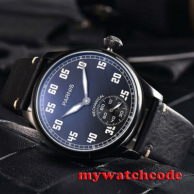 44mm parnis black dial luminous PVD case 6498 movement hand winding mens watch