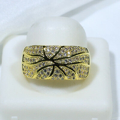 18K Yellow Gold Filled CZ Women Vintage Jewelry Wedding Band Ring R6385 Size5-10