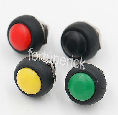 Push button Switch Black Red Green Yellow 12mm Round Waterproof Momentary 4 pcs
