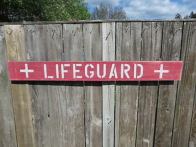 48 Inch Wood Hand Painted Lifeguard Sign Nautical Seafood (#s472)