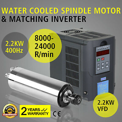 2.2Kw Water Cooled Spindle Motor 2.2Kw Vfd Drive Bearing Frequency Inverter Cnc