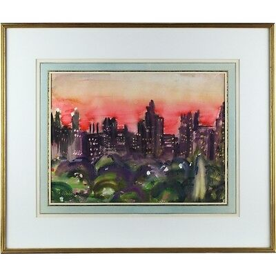 Framed Original Watercolour Painting Signed Date Night Sky Central Park New York
