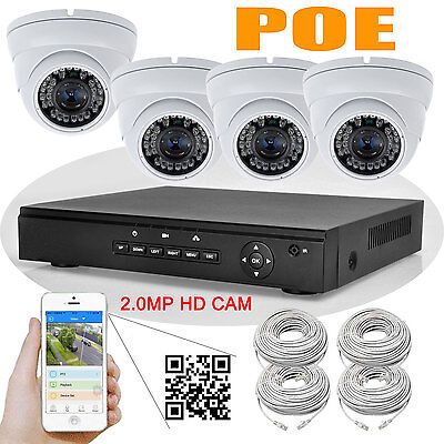 4CH Network POE NVR + 4pcs 2MP 1080P HD 36LEDs IR CCTV IP DOME Camera SYSTEM