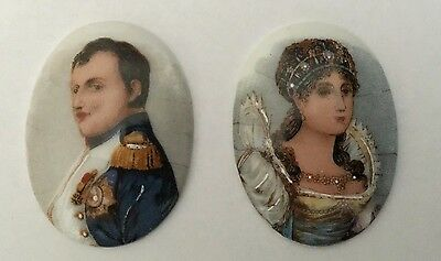 Antique NAPOLEON & JOSEPHINE Portraits MINI Porcelain PAINTINGS Limoges France