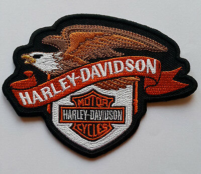 Harley Davidson Motorcycle Bikers Embroidered Sew/Iron On Patch Patches 10x8cm