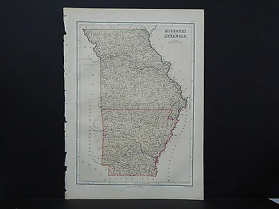 Antique Map, Blacks, 1862, USA, Missouri, Arkansas M7#03