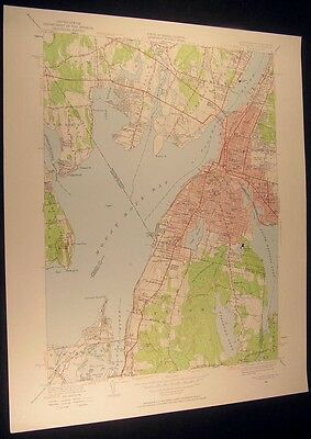 Fall River Mass. The Hummocks Swansea 1957 vintage USGS original Topo chart map