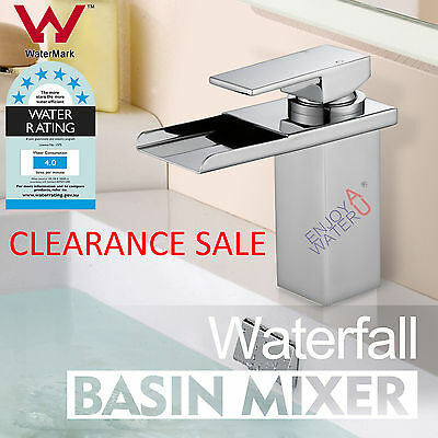 Bathroom Waterfall Square Chrome Flick Brass Vanity Faucet Basin Mixer Tap WELS