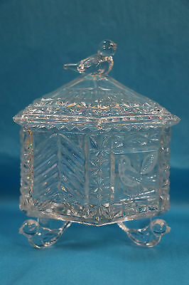 Hofbauer Birds Byrdes Collection Covered Candy Dish Crystal Germany Bleikristall