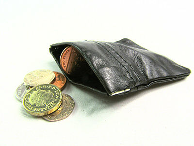 Mens Ladies Genuine Super Soft Real Black Leather Coin Pouch Wallet Snap Top