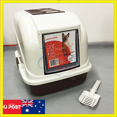 Cat Pet Toilet Litter Box Tray Portable Hooded House Handle Scoop Carrier