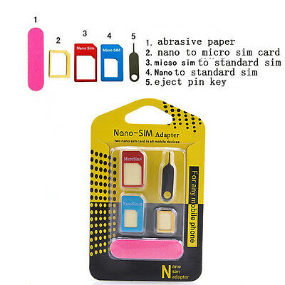 5 in 1 Nano SIM Card to Micro Standard Adapter Converter Set Kit for iPhone6 5 4