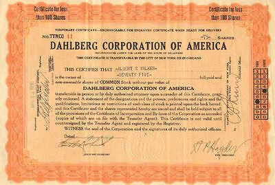 Dahlberg Corporation of America   1938 share stock certificate