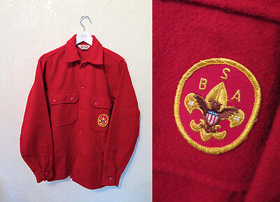 VTG Official Scouts American Red Jacket Shirt Overshirt Patch Badge Wool. S/M.