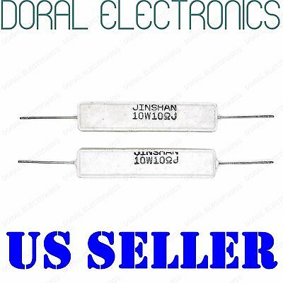 2x 10W 10 Ohm 10R 5% Ceramic Cement Power Resistor NEW 10Ohm 10 W 10WATT WATT