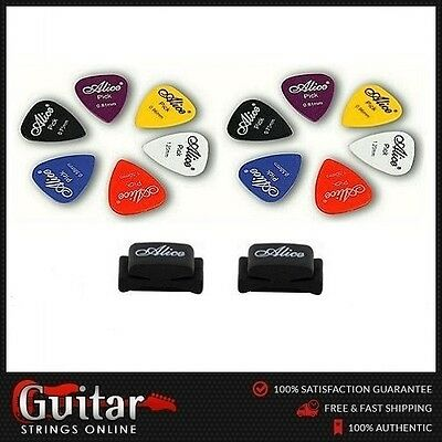 12 x Alice Mixed Gauge Guitar Picks/Plectrums + 2 x Alice Rubber Pick Holders