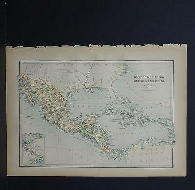Antique Map, Black's, 1862 Mexico, Centrla America, West Indies M7#25