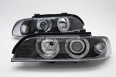 BMW 5 Series E39 95-00 Black Projector Angel Eyes Halo Headlights Set Pair