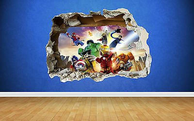 Lego Super Heroes Smashed Wall Sticker - 3D Bedroom Boys Girls Wall Art Decal