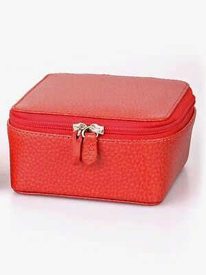 Laurige Leather Travel Jewellery Case - Red