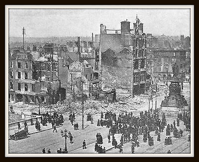 Easter Rising 1916 Ireland Aftermath in Dublin 11x14 Matted 8x10 vintage photo