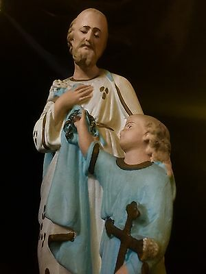 Stunning Large French Vintage Statue Of Christ And Joseph ,Madonna Crucifix Icon