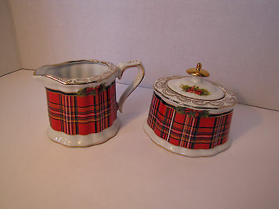 Royal Elfleda Christmas Creamer &sugar Bowl- Lid,red Plaid,gold Trims, Beautiful