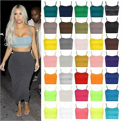 Womens Ladies Sleeveless Strappy Vest Plain Camisole Boob tube Bralet Crop Top