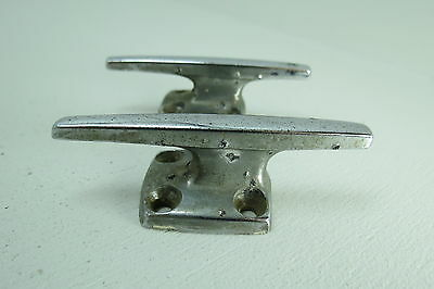 Pair 3 Inch Old Chrome Boat Dock Cleats  (D2A1577)