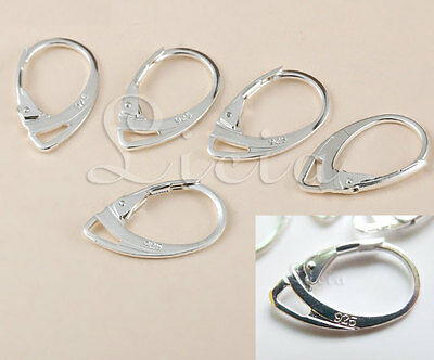 925 Sterling Silver Earring Earwire Hook Huggie Finding French Leverback Stamped