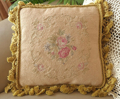 "12"" Vintage Bronze Color Fringe Hand Woven Petit Point Needlepoint Cushion"