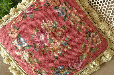 "14"" Vintage Red Background Rose Bouquet Hand Woven Needlepoint Pillow"
