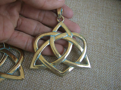New 5pcs Antique Greek Gold Heart Chinese Knot Charms Jewlery Big Charms Pendant