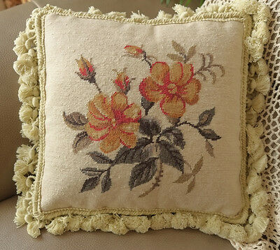 "12"" Simple But Elegant Oleander French Country Handmade Needlepoint Pillow"