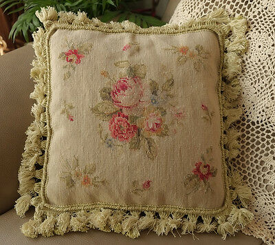 "14"" Exquisite Stunning Well Handmade English Country Rose Needlepoint Pillow"